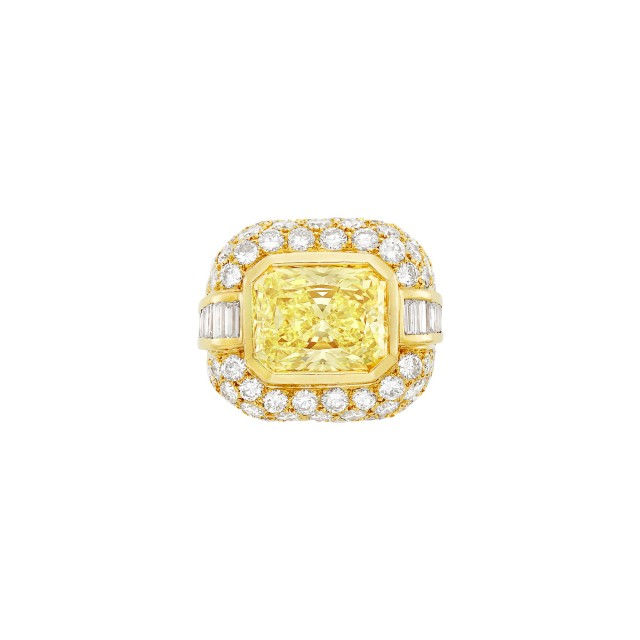Gold, Yellow Diamond and Diamond Ring