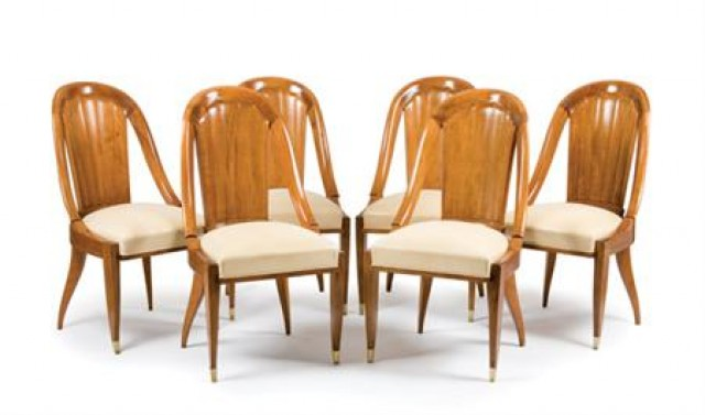 EMILE-JACQUES RUHLMANN French, 1879-1933 Six Dining Chairs, circa 1925
