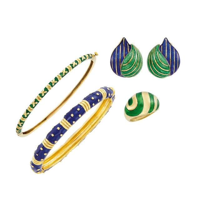 Two Gold and Enamel Bangle Bracelets, Hidalgo, Ring and Pair of Earclips