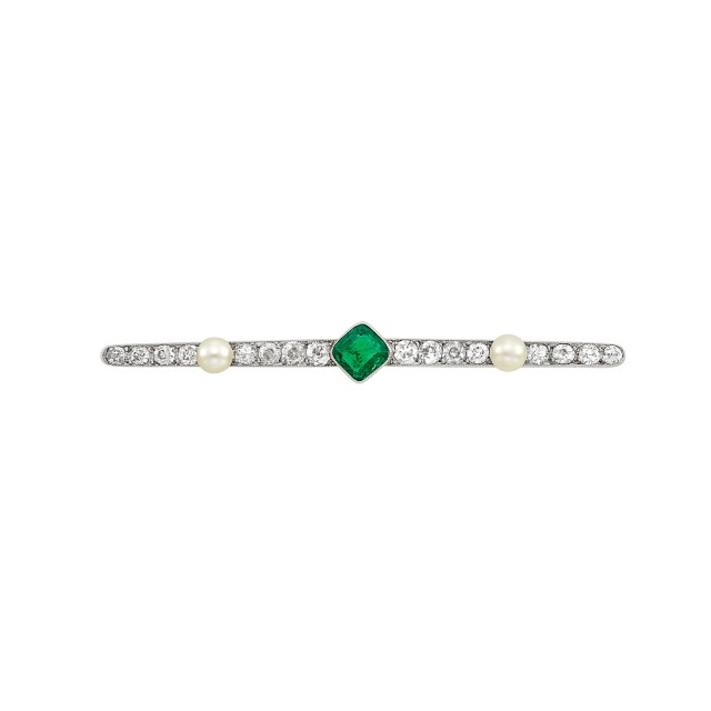 Platinum, Emerald, Diamond and Button Pearl Bar Pin