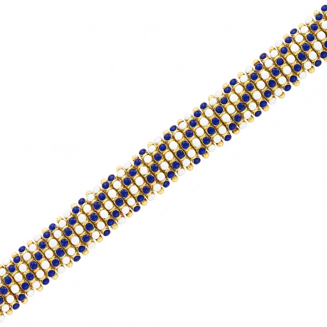Gold and White and Blue Enamel Bracelet, Cartier