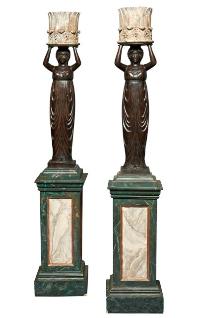 Pair of Classical Stained Wood Canéphores Holding Jardinières