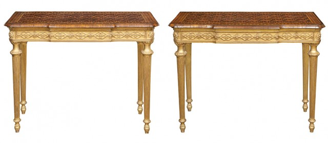 Pair of George III Inlaid Walnut, Harewood, Tulipwood and Holly  Parquetry and Giltwood Side Tables