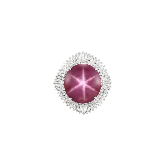 Platinum, Star Ruby and Diamond Ring