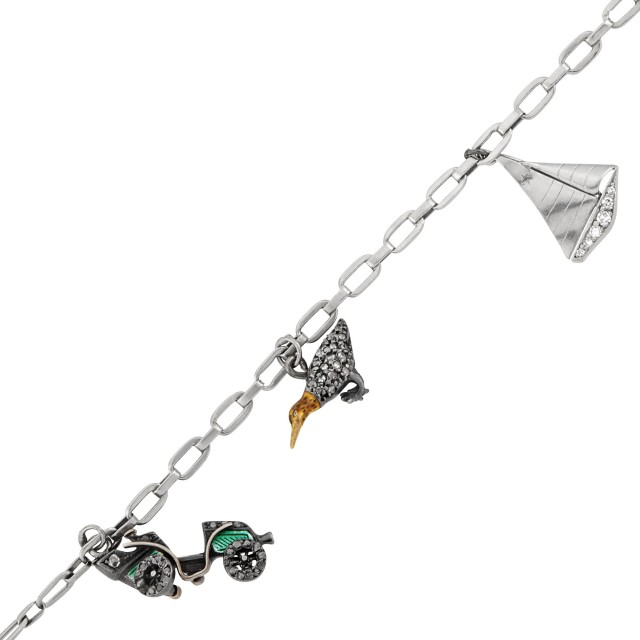 Antique Silver, Platinum, Diamond and Enamel Sailboat, Car, Bird and Racehorse Charm Bracelet
