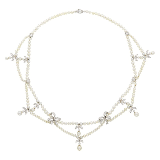 Tiffany & Co. Platinum, Gold, Natural Pearl and Diamond Swag Necklace
