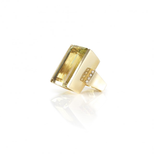 Gold, Lemon Quartz and Diamond Ring