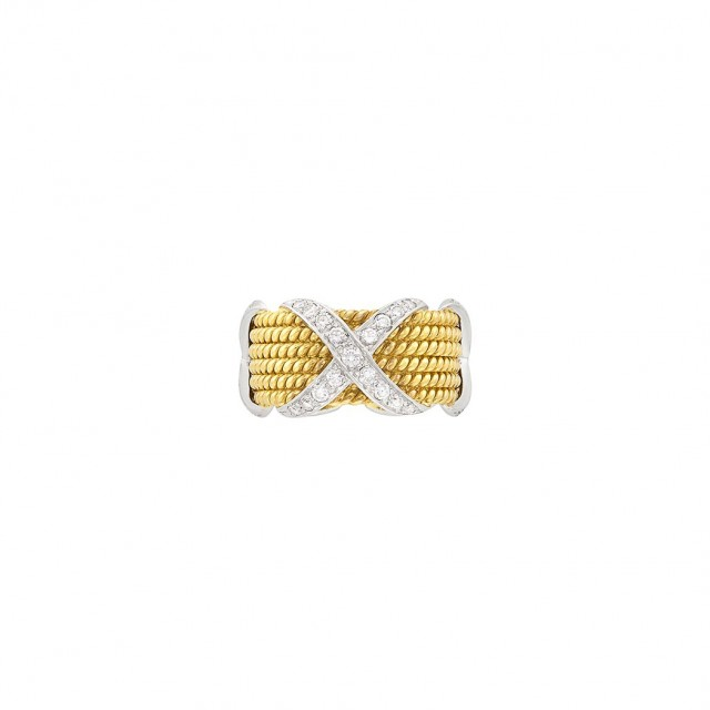 Six Row Gold, Platinum and Diamond Band Ring, Tiffany & Co., Schlumberger