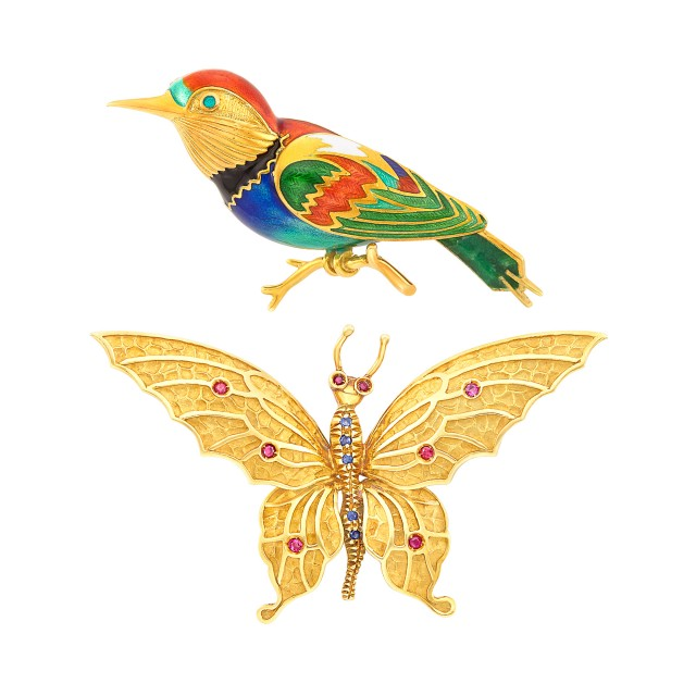 Gold and Enamel Bird Pin, France, and Gold, Ruby and Sapphire Butterfly Pin, Tiffany and Co.
