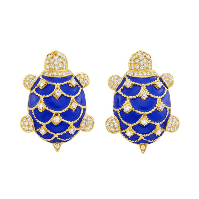 Pair of Gold, Blue Enamel and Diamond Turtle Cufflinks