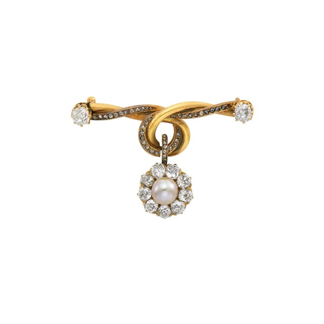 Russian Diamond, Pearl and Gold Pendant Brooch