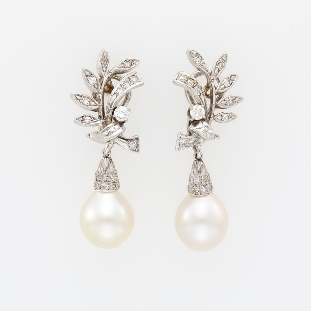 Pair of White Gold, Cultured Pearl and Diamond Pendant-Earrings
