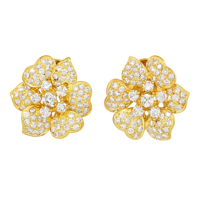 Pair of Gold and Diamond Flower Earclips
