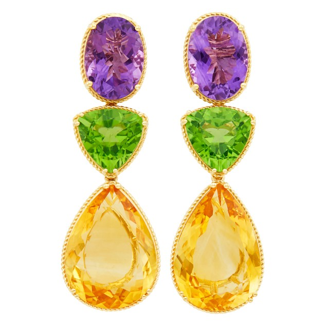 Pair of Gold, Amethyst, Peridot and Citrine Pendant-Earclips