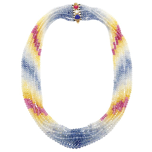 Seven Strand Multicolored Sapphire Bead Necklace with Gold, Gem-Set and Diamond Clasp