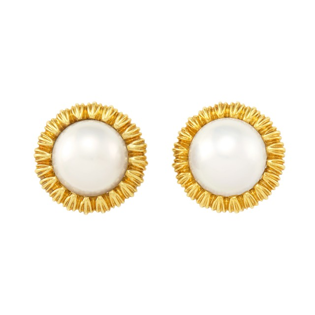 Pair of Gold and Mabé Pearl Earclips, Tiffany and Co.