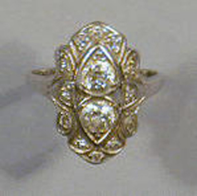 Platinum and old mine diamond dinner ring, set with two old