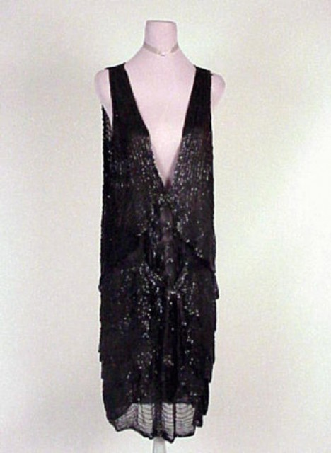Black Chiffon Beaded Chemise Dress Probably French, 1920s
