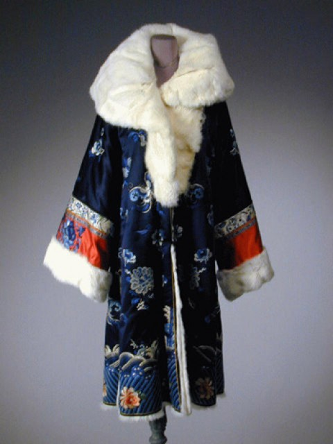 Midnight Blue Fur Lined Embroidered Coat