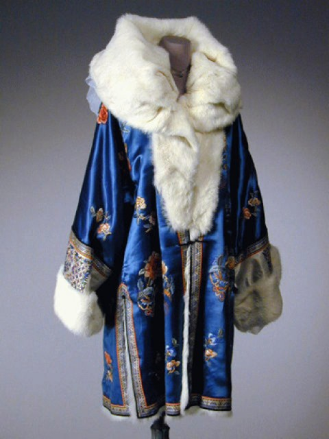 Cerulean Blue Fur Lined Embroidered Evening Coat
