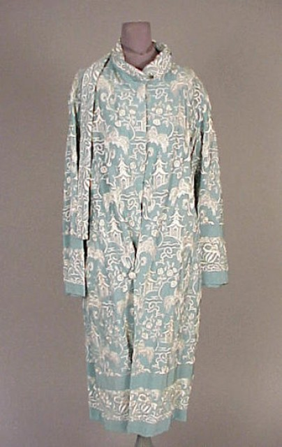 Light Blue Pagoda Motif Embroidered Coat