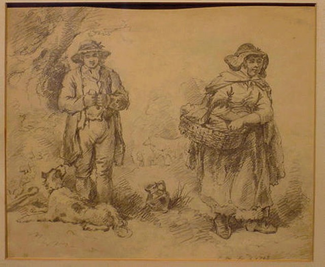 George Morland British, 1763 - 1804 MAN AND WOMAN WITH DOG