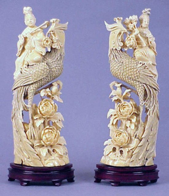 Pair Of Chinese Ivory Tusk Carvings Of Phoenixes And Immortals For