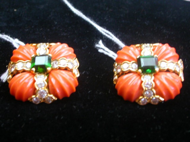 Pair of Fluted Coral, Diamond and Green Tourmaline Earrings