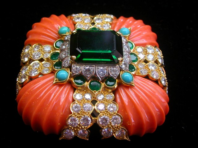 Coral, Diamond, Turquoise and Green Tourmaline Brooch