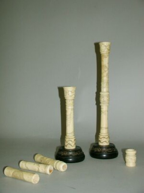Pair Of Carved Whale Bone Adjustable Candlesticks For Sale At Auction On Tue 10 29 2002 07 00 American Furniture And Decorations Doyle Auction House
