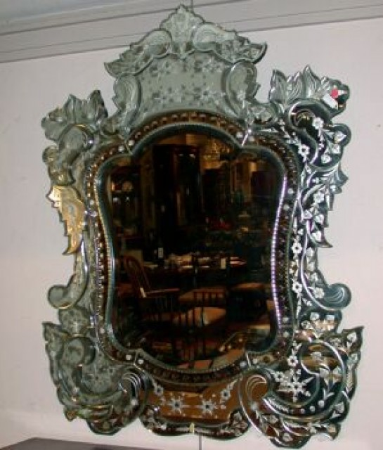 Venetian Etched Glass Mirror For Sale At Auction On Wed 12 04 2002 07 00 Fine Furniture And Decorations Holiday Doyle Auction House