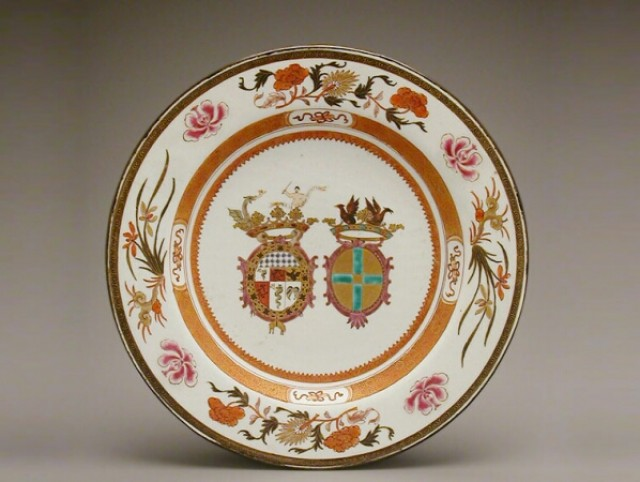 CHINESE EXPORT ENAMELED PORCELAIN DISH FOR THE ITALIAN MARKET WITH THE ARMS OF VISCONTI AND CUSANI  Circa 1722  Diameter 12 1/4 inches