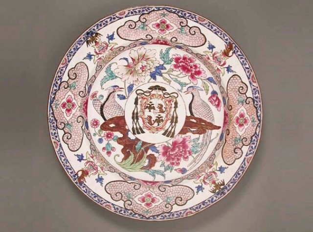 CHINESE EXPORT PAINTED ENAMEL ARMORIAL DISH  Circa 1730-1745  Diameter 12 1/4 inches (31cm)