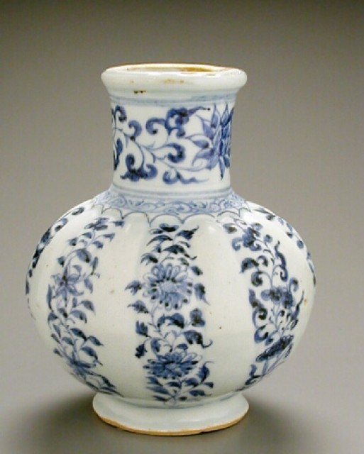 RARE BLUE AND WHITE PORCELAIN SIXTEEN-RIBBED BOTTLE VASE  Mid 14th century  Height 6 3/8 inches (16.2 cm)