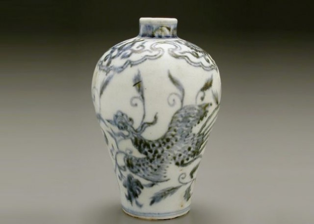 RARE BLUE AND WHITE PORCELAIN SMALL MEIPING  Probably Jiawen Period (1399-1402)  Height 5 1/4 inches (13.3 cm)