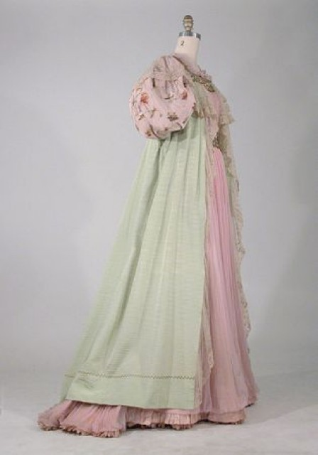 Pink Chiffon and Pistachio Ribbed Silk Redingote