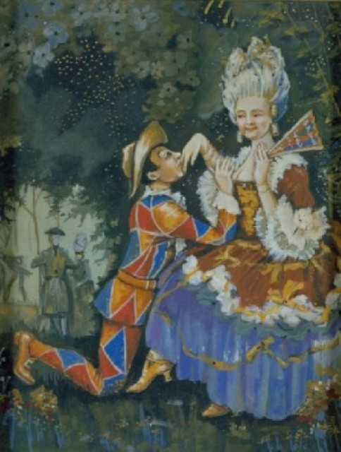 Attributed to Konstantin Andreevich Somov Russian, 1868-1939 HARLEQUIN COURTING A LADY