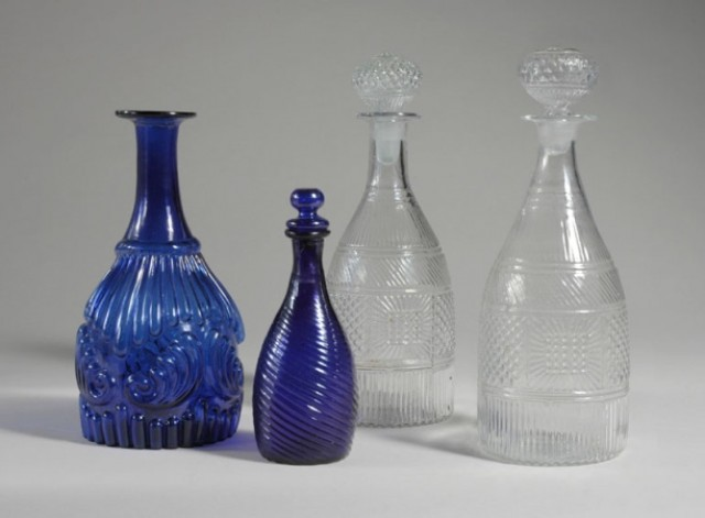 Blue Mold Blown Glass Decanter and Cruet; Together with an Assembled Pair...
