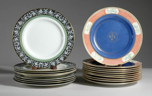 Set of Ten Wedgwood Porcelain Dinner Plates; Together with Set of Eight...