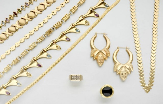 Large Assorted Group of Gold and Metal Jewelry