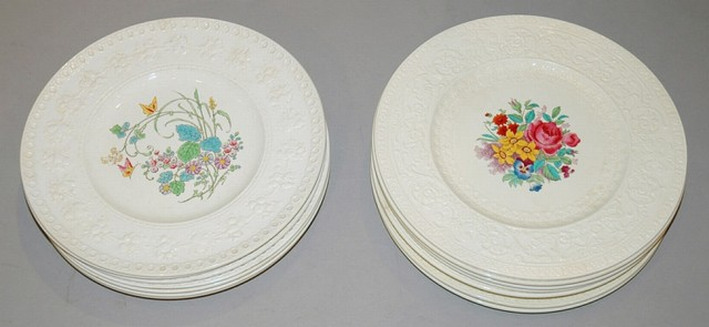 Set of Eight Wedgwood Pottery Plates; Together with a Set of Eight Royal...