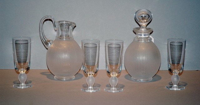 Lalique Frosted and Molded Colorless Glass Langeais Stemware and Barware...