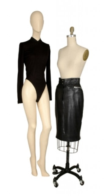 Alaia Black Leather Skirt and Knit Bodysuit