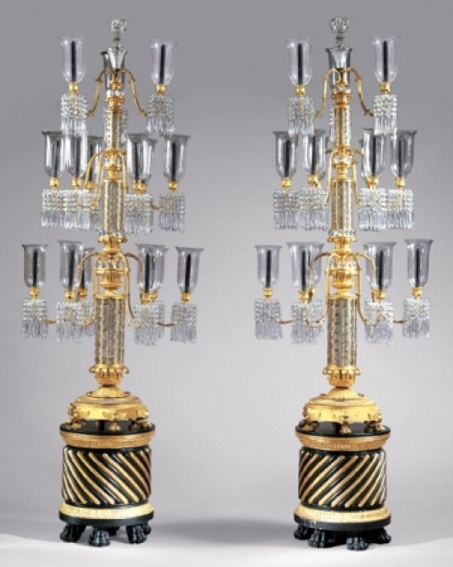 Pair of Late Regency Gilt-Bronze and Cut Glass Three-Tier Fifteen-Light Torcheres