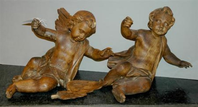 Pair Of Continental Carved Wood Angels For Sale At Auction On Wed