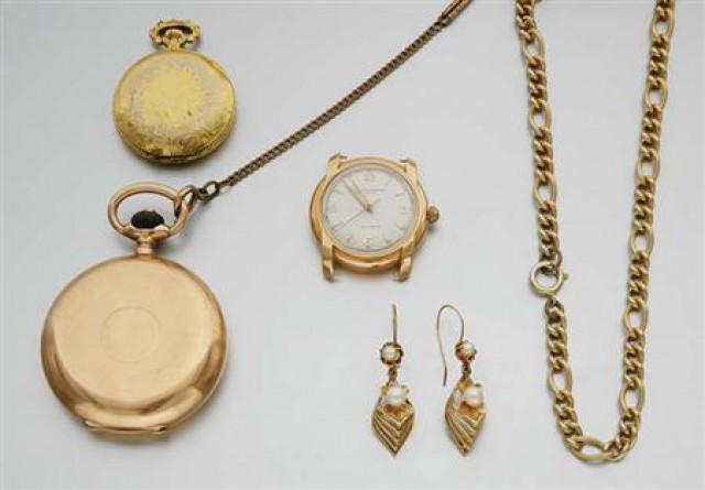 A Hunting Cased Pocket Watch, Two Watches and Assorted Jewelry