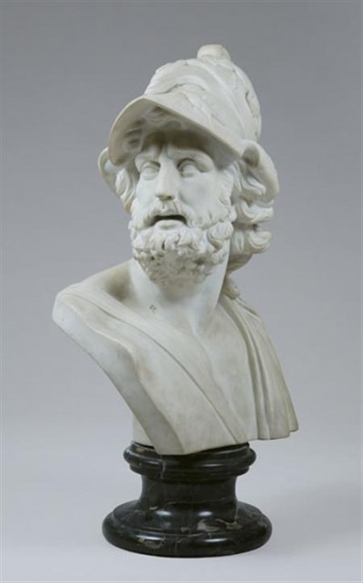 White Marble Bust of Ajax; Together with a Neoclassical Style White Marble...