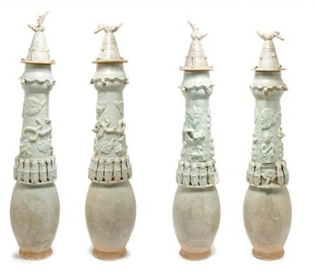 Two Chinese Celadon Glaze Pottery Burial Urns for Sale at