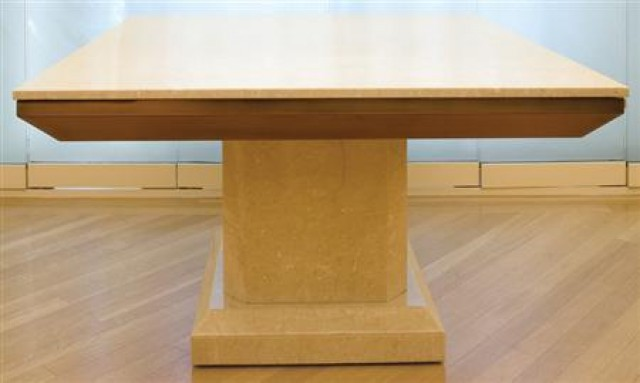 ATTRIBUTED TO KARL SPRINGER Two-Part Dining Table, circa 1975