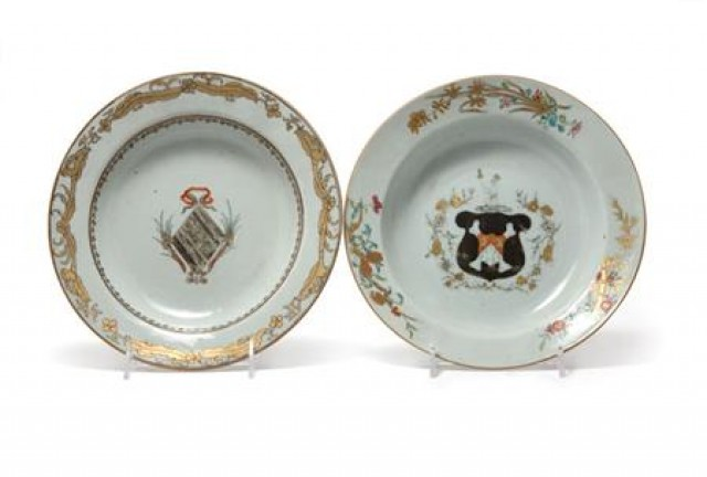 Pair of Chinese Export Porcelain Dishes; Together with a Pair of Chinese...